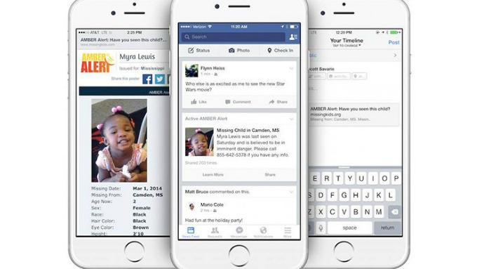 Facebook will begin to show Amber Alerts in the news feeds of users who live in areas where a possible abduction may have occurred.