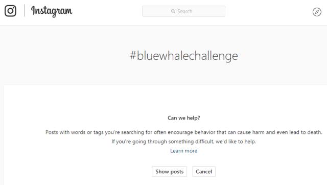 #BlueWhaleChallenge Instagram warning