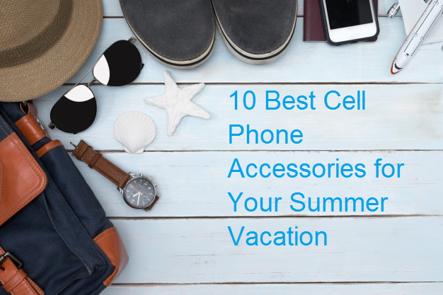 Picture of sun glasses, watch, backpack, seashells, cell phone accessories