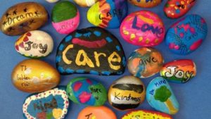 Summer Fun - rocks painted with messages of kindness
