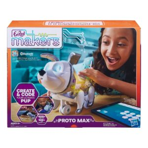 Girl playing with furReal Makers Proto Max toy