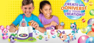 Boy and girl playing with Oonies toys
